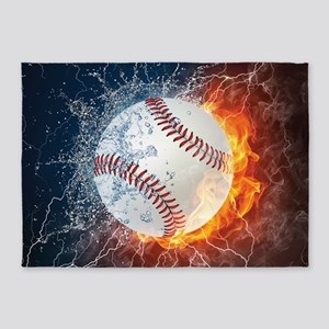 Baseball Ball Flames Splash 5'x7'Area Rug